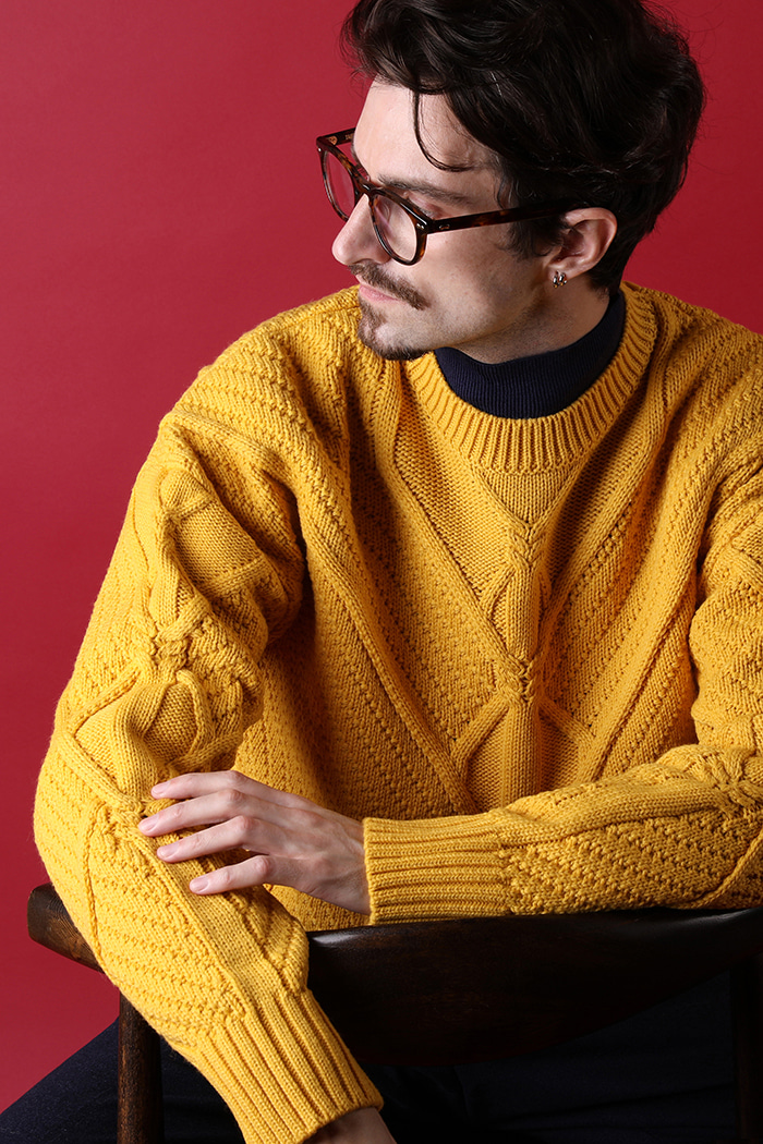 LAUREL CABLE ROUND KNIT-4COLOR