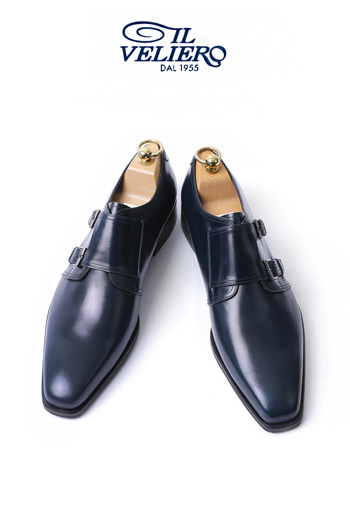 Take478 Artisan ITALY ILVELIERO Double Monk Shoes-NAVYLIMITED PRODUCT