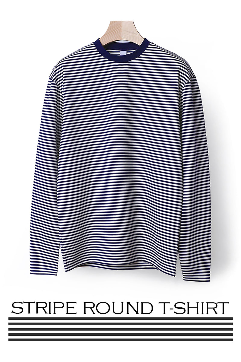 BRAHIM STRIPE ROUND T-SHIRT-5COLOR