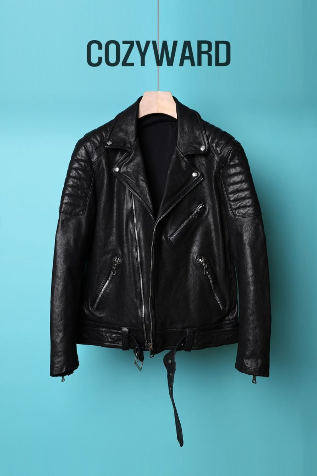 COZYWARD LEATHER RIDER JACKET-BLACK