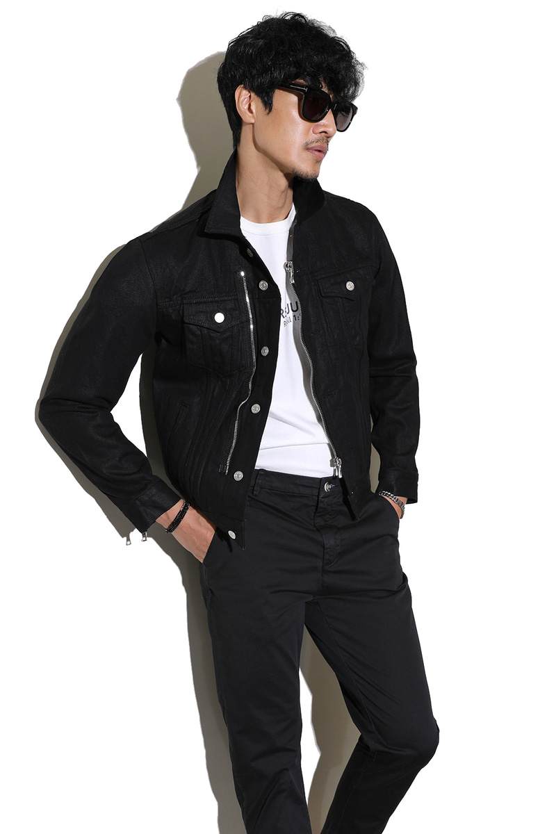 ANDRINO DENIM ZIPPER JACKET-BLACK
