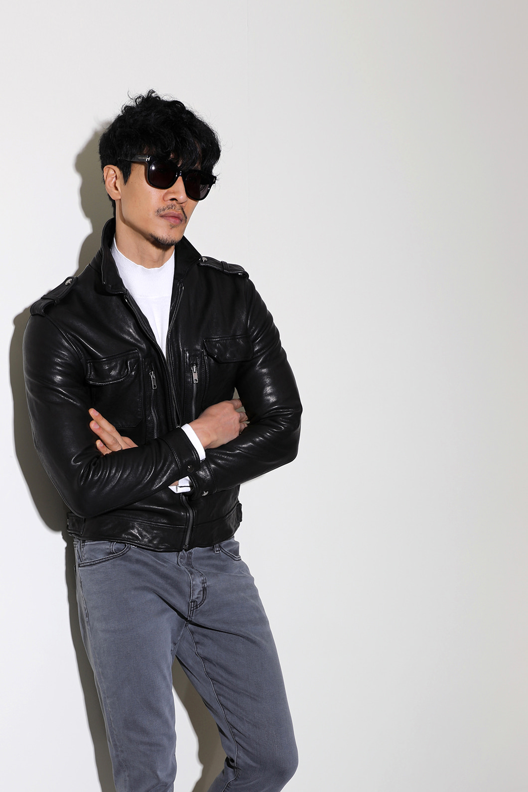 MARSDAN POCKET LEATHER BLOUSON-BLACK