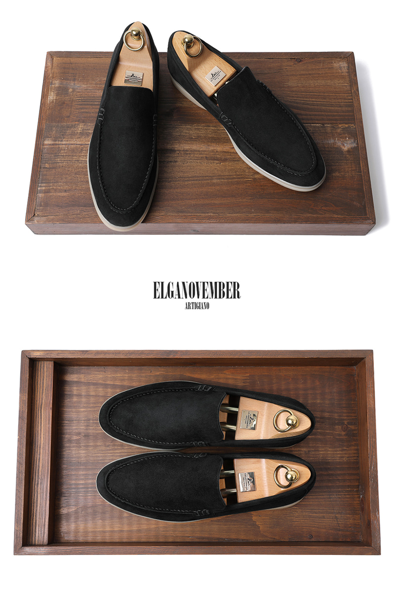 LOWER SUEDE LOAFER-BLACKITALY Leather 275 size 당일 발송!