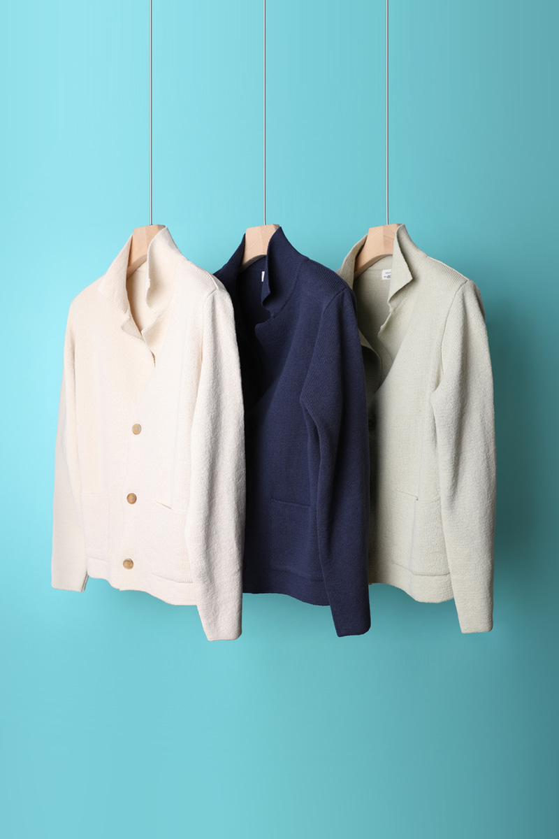 ORGANIC SHAWL COLLAR CARDIGAN-3COLOR