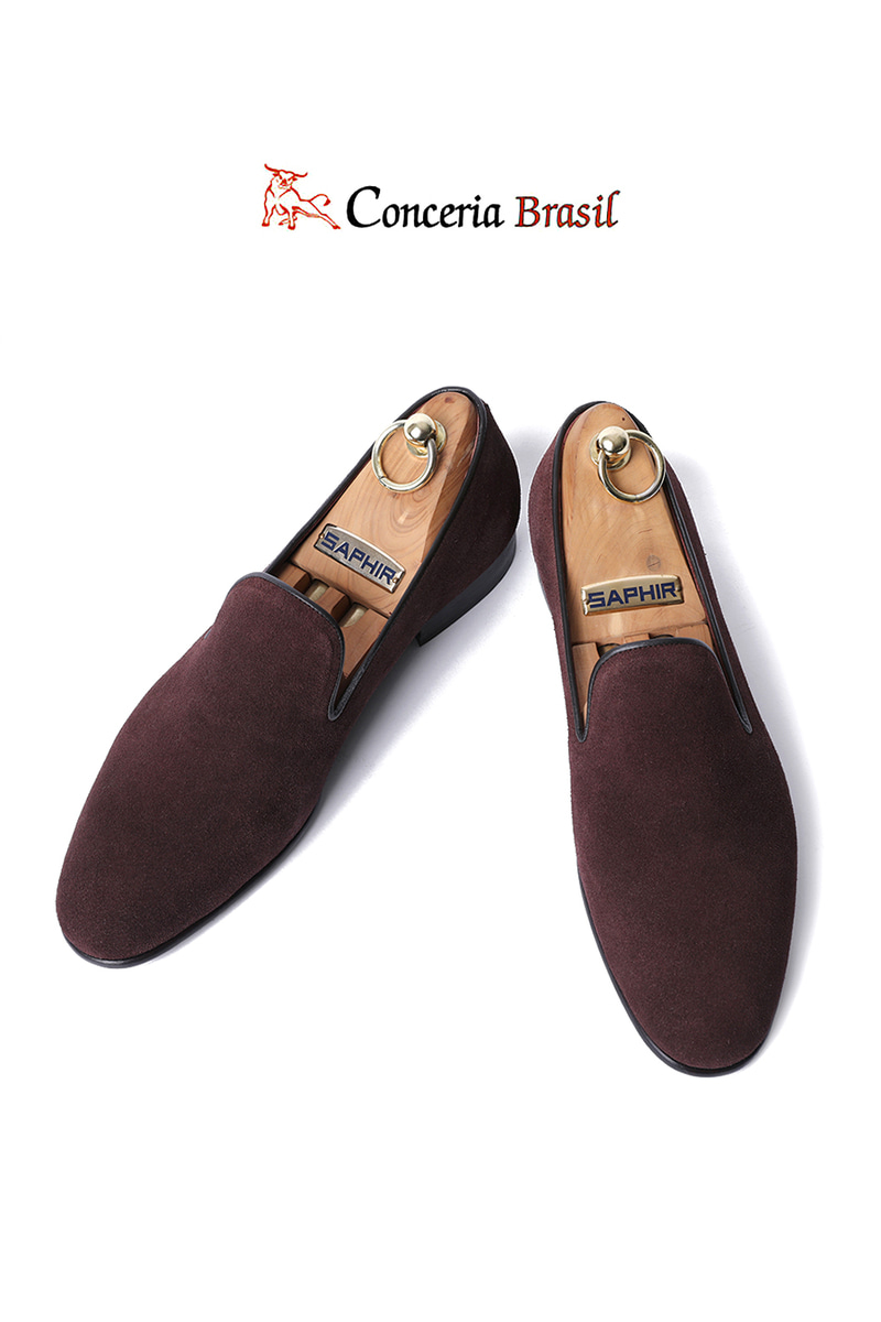 TAKE480 Artisan ITALY Conceria Brasil suede loafer-BURGUNDY-LIMITED