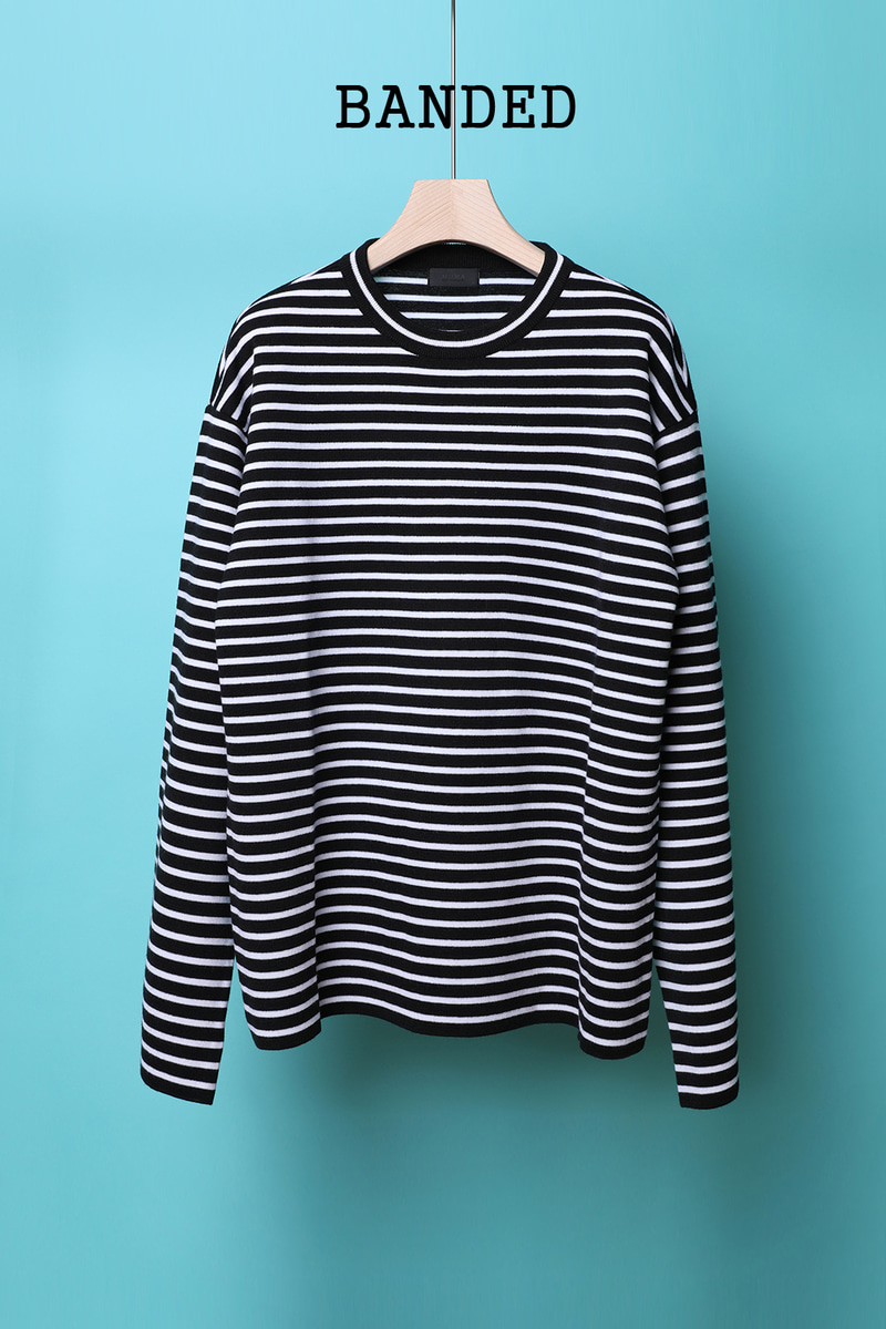 BANDED SLEEVE STRIPE OVER FIT KNIT-STRIPE스페셜오더!