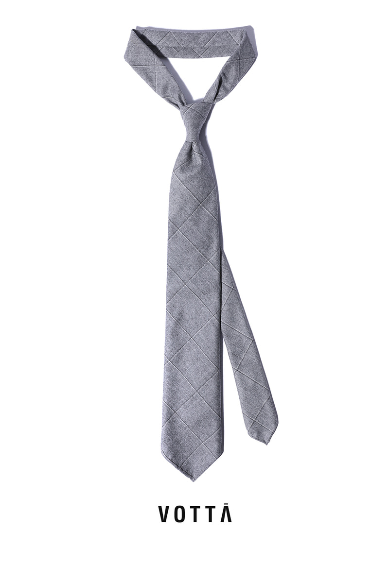 CANONICO WINDOW SPODERATO TIE-GRAYHAND MADE TIE[wool 100%]