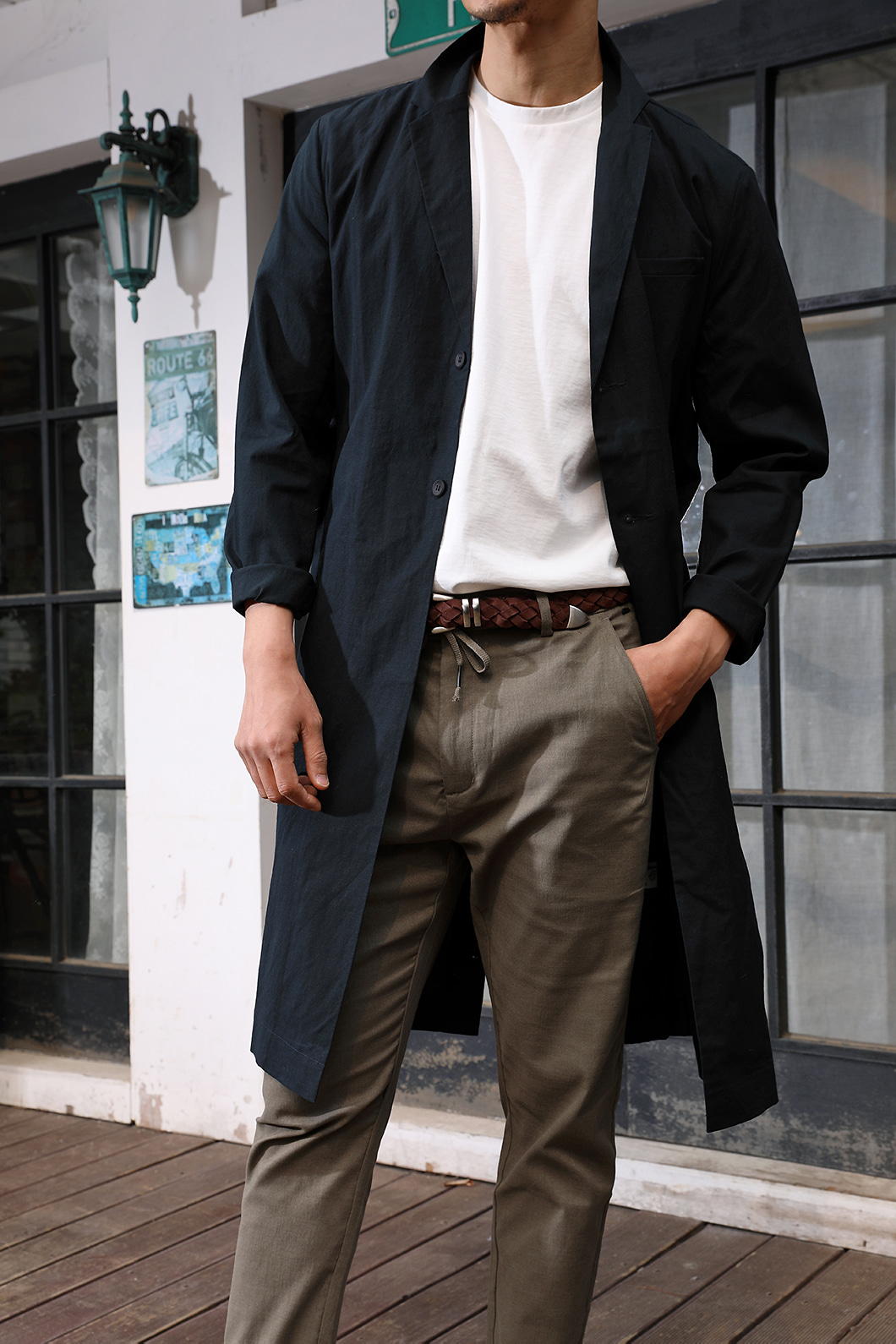 BALMAS LINEN LONG COAT-BLACK수입한정제품