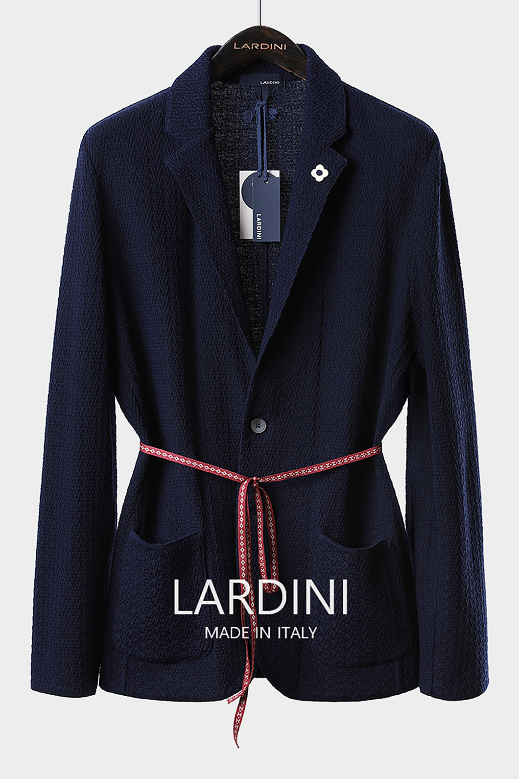 LARDINI SINGLE DIAMOND KNIT JACKET-NAVY