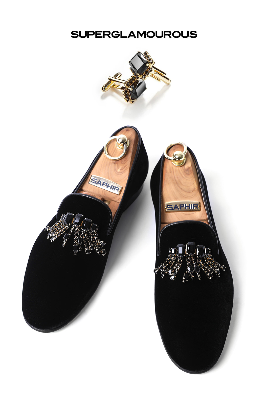 CRYSTAL BROOCH VELOUR SLIPPERS/BLACKMADE IN ITALY-2020.3월 입고예정!