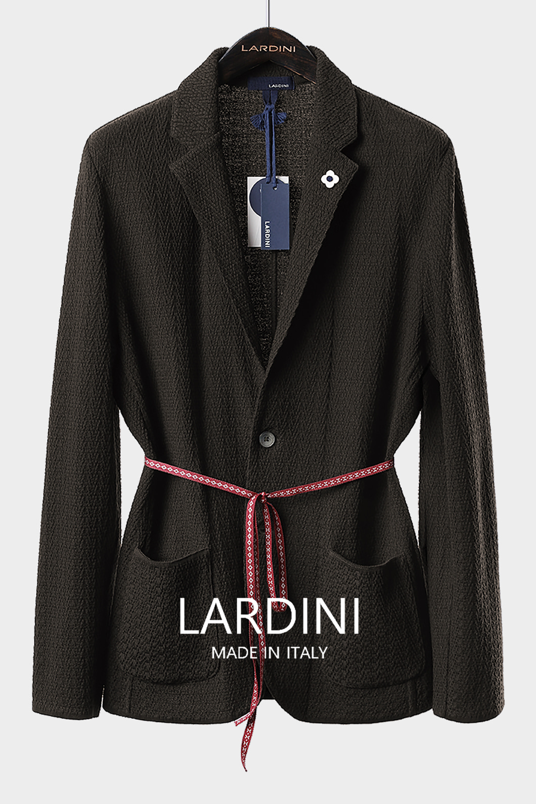 LARDINI SINGLE DIAMOND KNIT JACKET-BROWN
