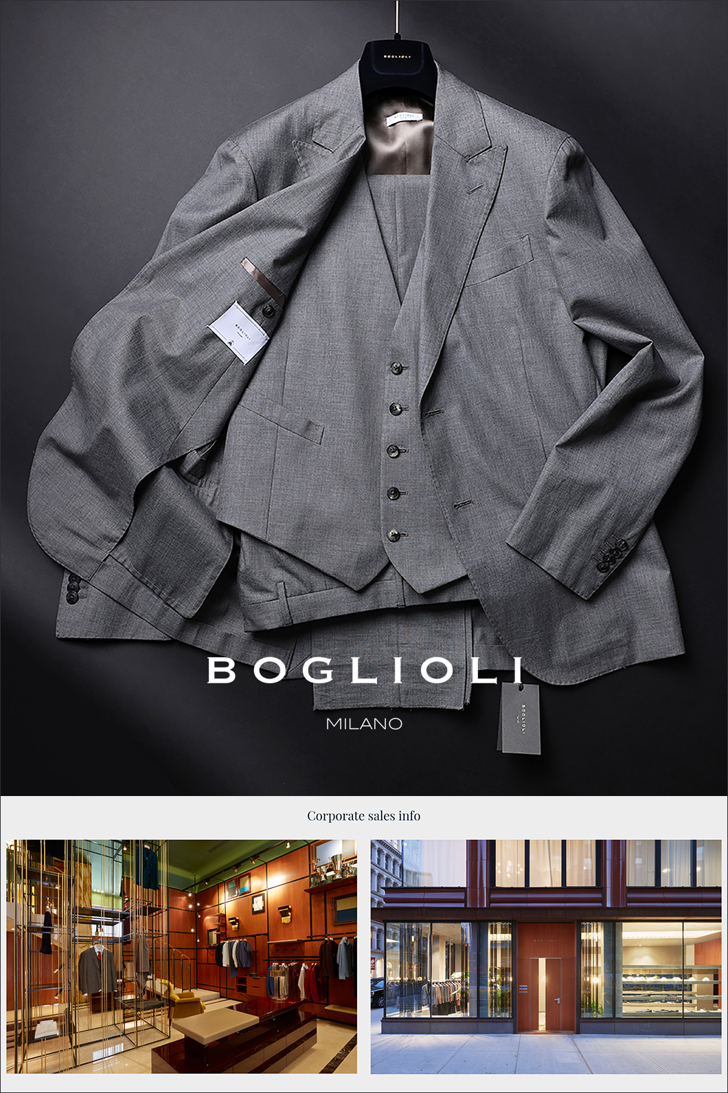 BOGLIOLI THREE PIECE SINGLE SUIT-GRAY[ITALY-Original]