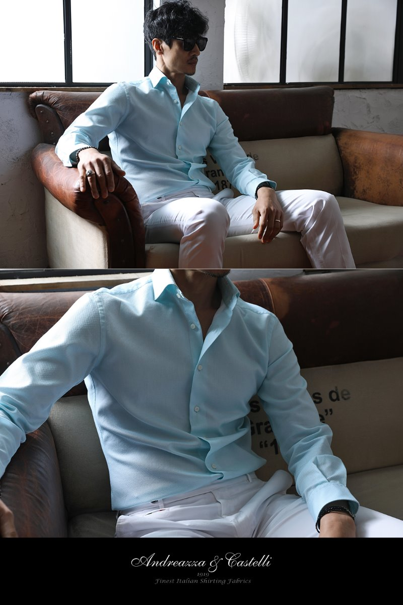 TAKE489 ITALIA Andreazza&Castelli WIDE COLLAR SHIRT-MINT-3/2이상 판매완료-최근이슈제품!