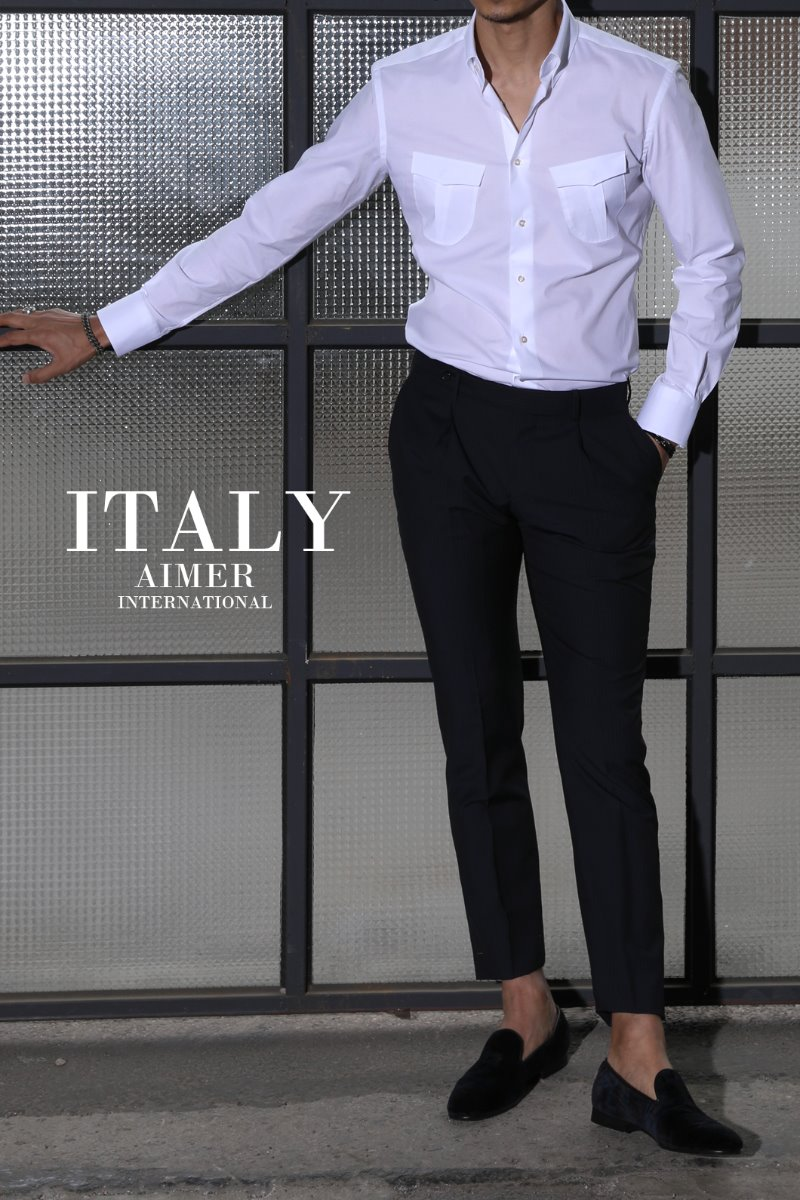 TAKE491 ITALIA A&C POCKET SHIRT-WHITE-Best Seller!!
