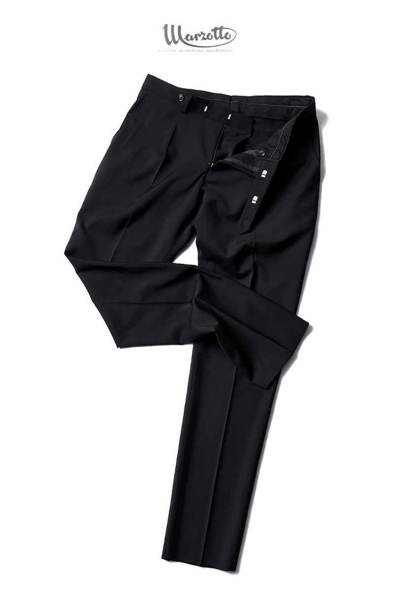 TAKE492 ITALY MARZOTTO ONE TUCK SLACKS PANTS-BLACK