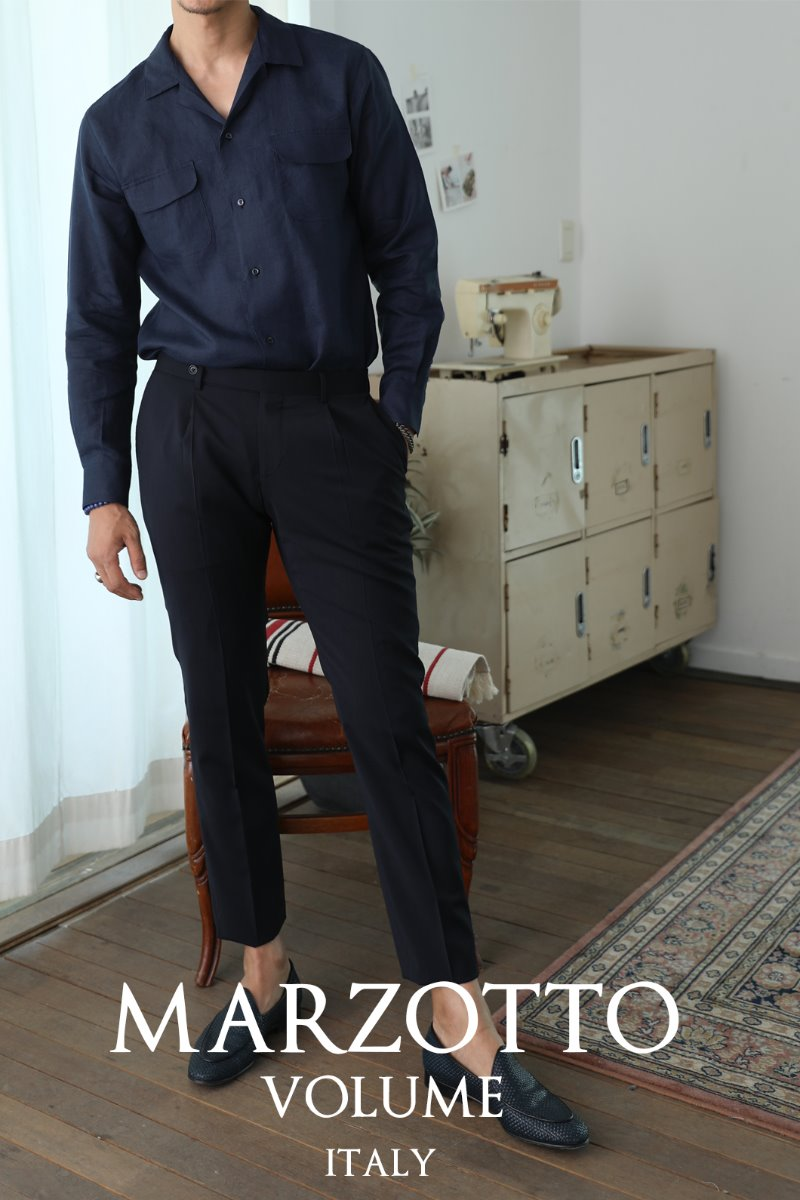 TAKE493 ITALY MARZOTTO VOLUME SLACKS PANTS-NAVY-적극추천-주간베스트셀러!!