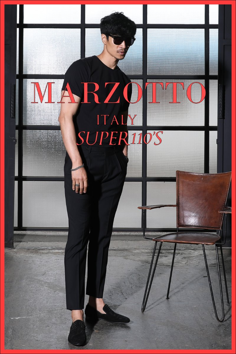 TAKE492 ITALY MARZOTTO ONE TUCK SLACKS PANTS-BLACK-적극추천!