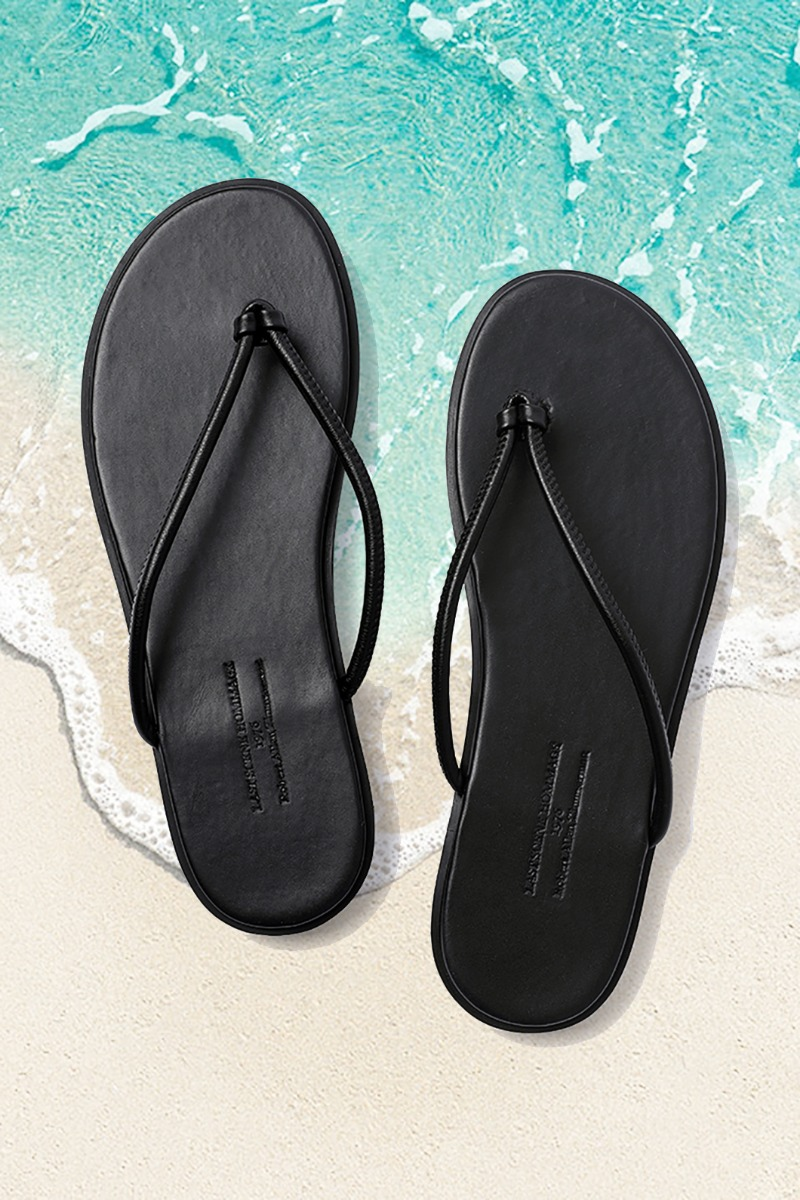 LEATHER STRAP FLIP-FLOP-BLACK남여공용-230사이즈부터!