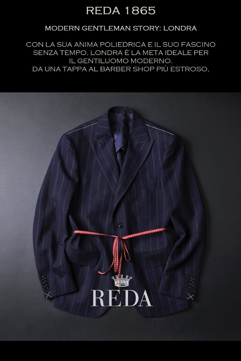TAKE485 ITALIA REDA 1865 STRIPE SINGLE JACKET-NAVY봄,가을시즌-ITALY REDA
