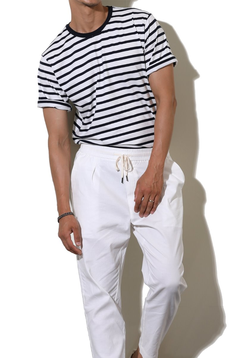 WAYNE STRIPE ROUND T-SHIRT-WHITE수입한정제품
