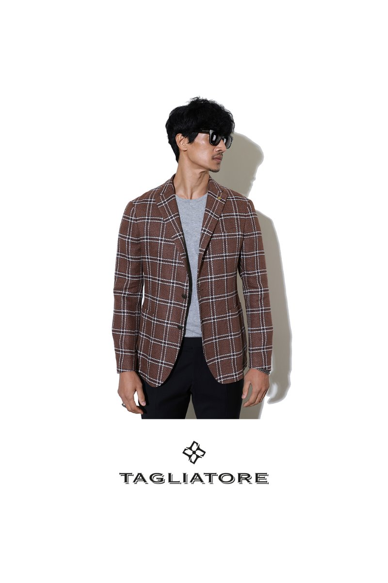 TAGLIATORE CHECK JACKET-BROWN[ITALY-Original]