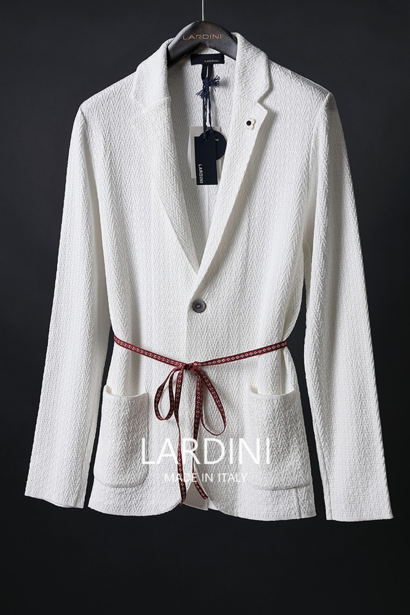 Lardini Single Diamond Knit Jacket-White