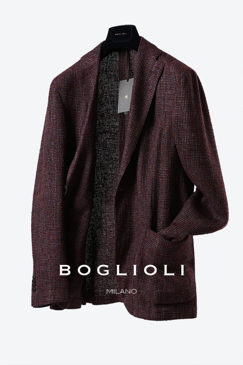 BOGLIOLI Burgundy Tweed Jacket-Burgundy[ITALY-Original]