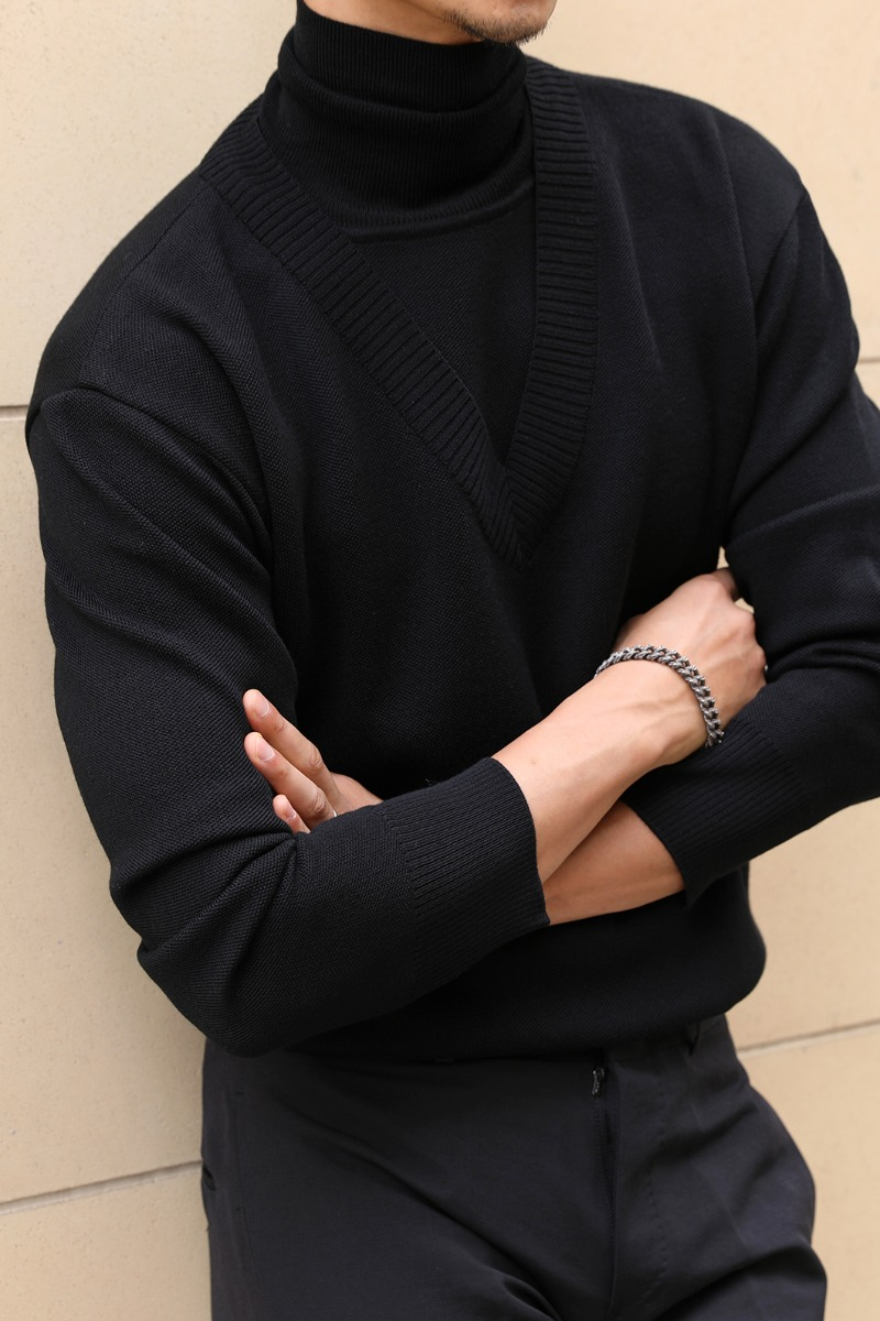 LAYERD POLO NECK SWETER-BLACK