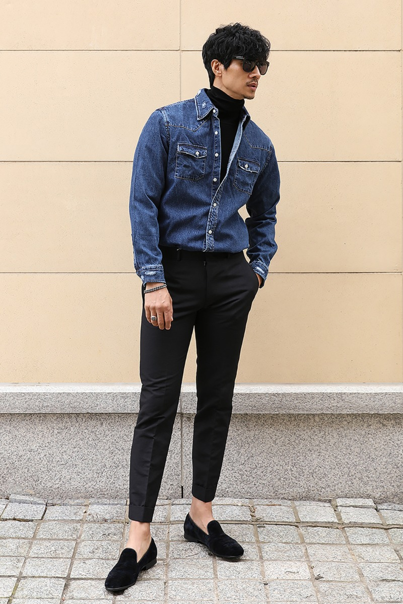 EMJAY DENIM SHIRT-BLUE수입한정제품