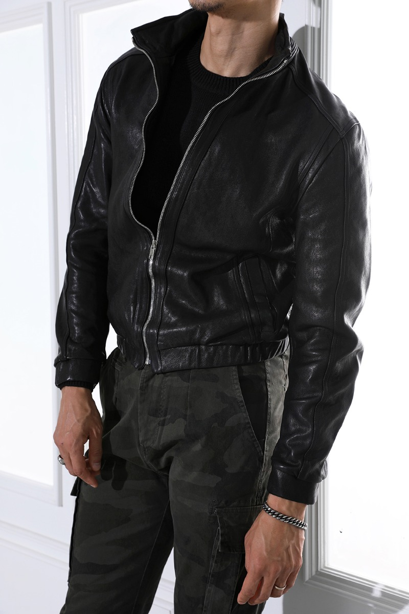 CONNICK BANDING LEATHER BLOUSON-BLACK