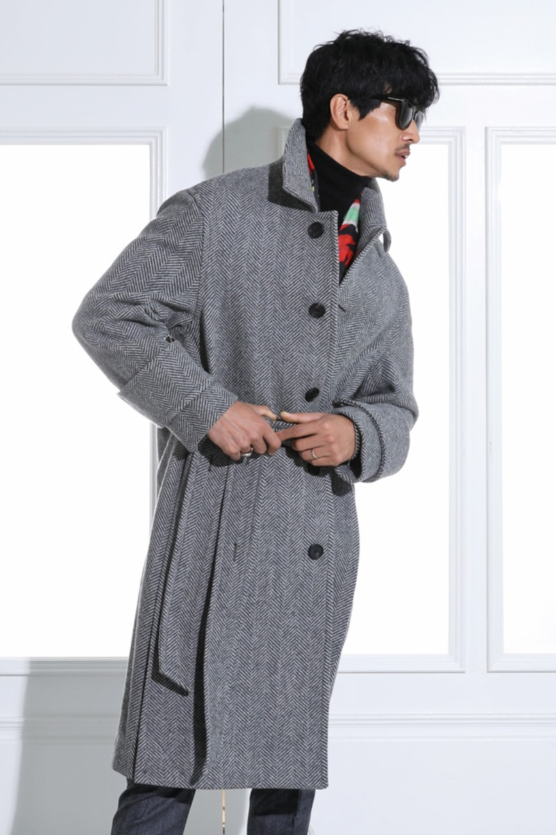 SIDE PLEATS HERRINGBONE MAC COAT-GRAY스페셜오더!