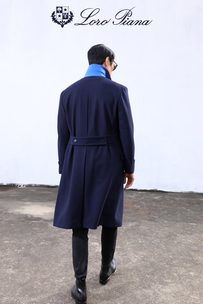 TAKE517 LOROPIANA POLO COAT-NAVY