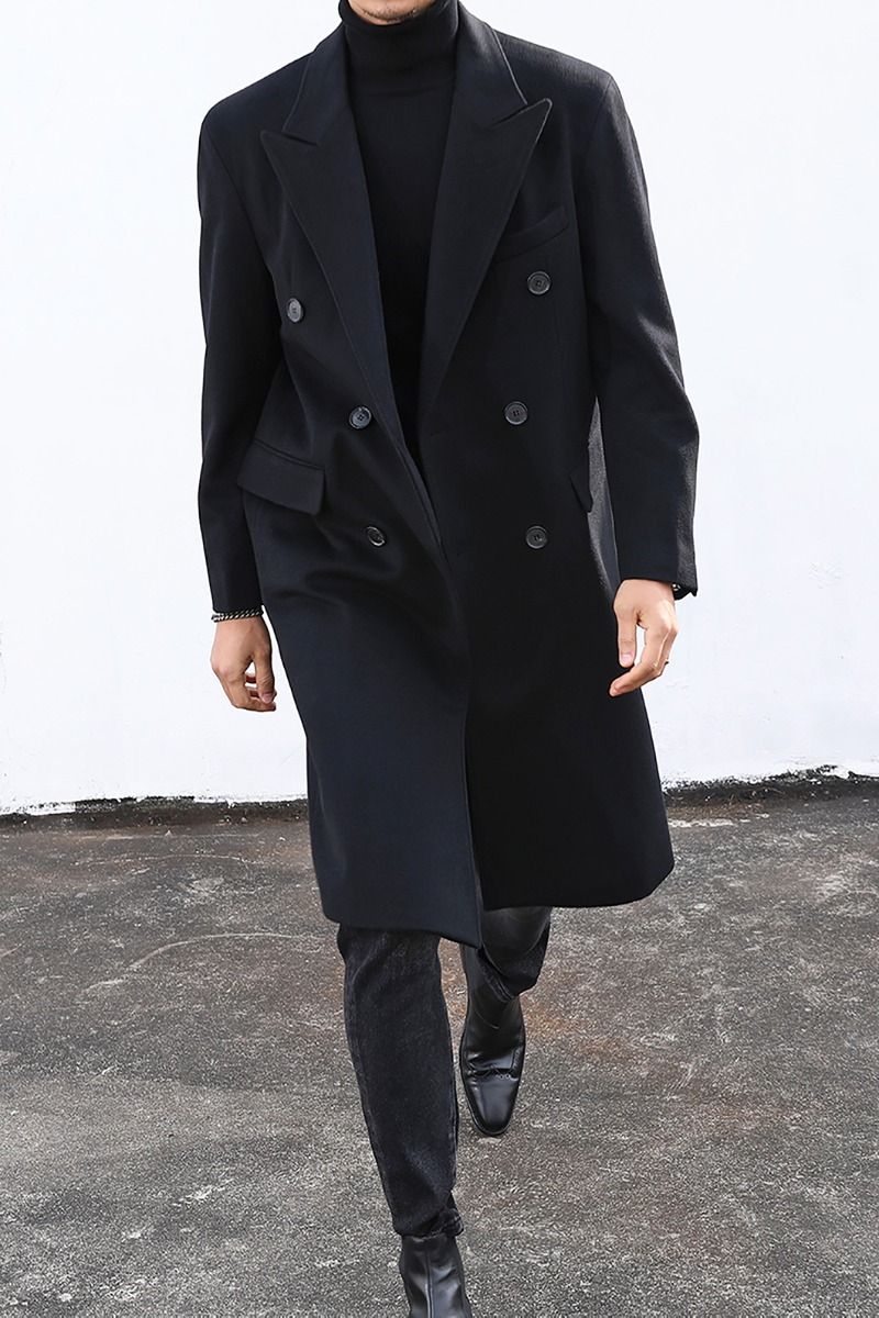 DOUBLE BREASTED COAT-BLACK