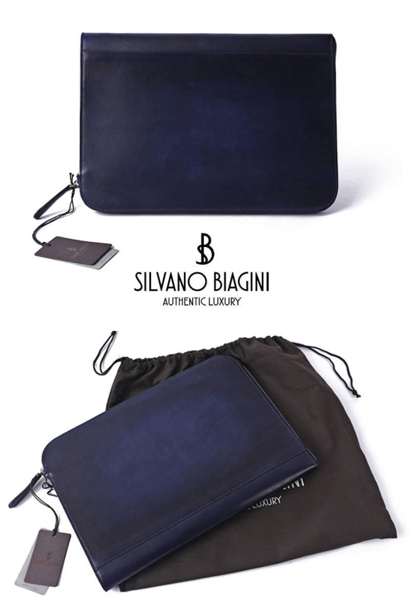 SILVANO BIAGINI PATINA CLUTCH BAG-BLUE