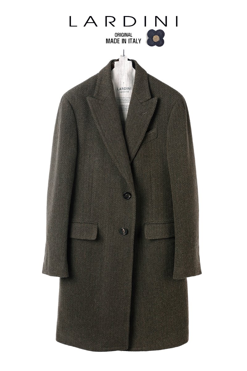 LARDINI TWEED COAT-OLIVE KHAKI소량 한정모델