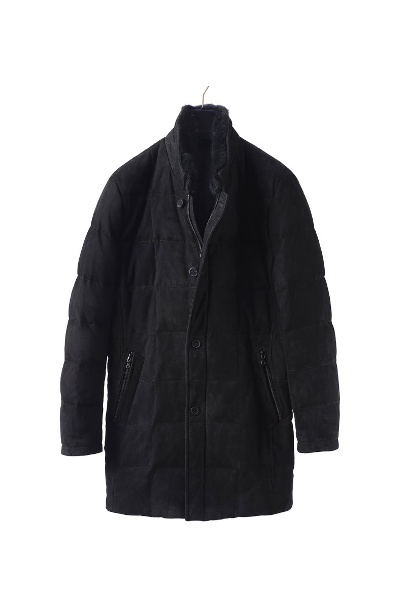 THOMPSON SUEDE DOWN COAT-BLACK