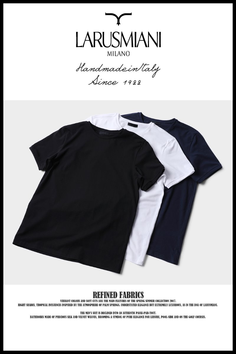 487 LARUSMIANI MILANO-ITALY BASIC T-SHIRT-3COLORBest Seller!!