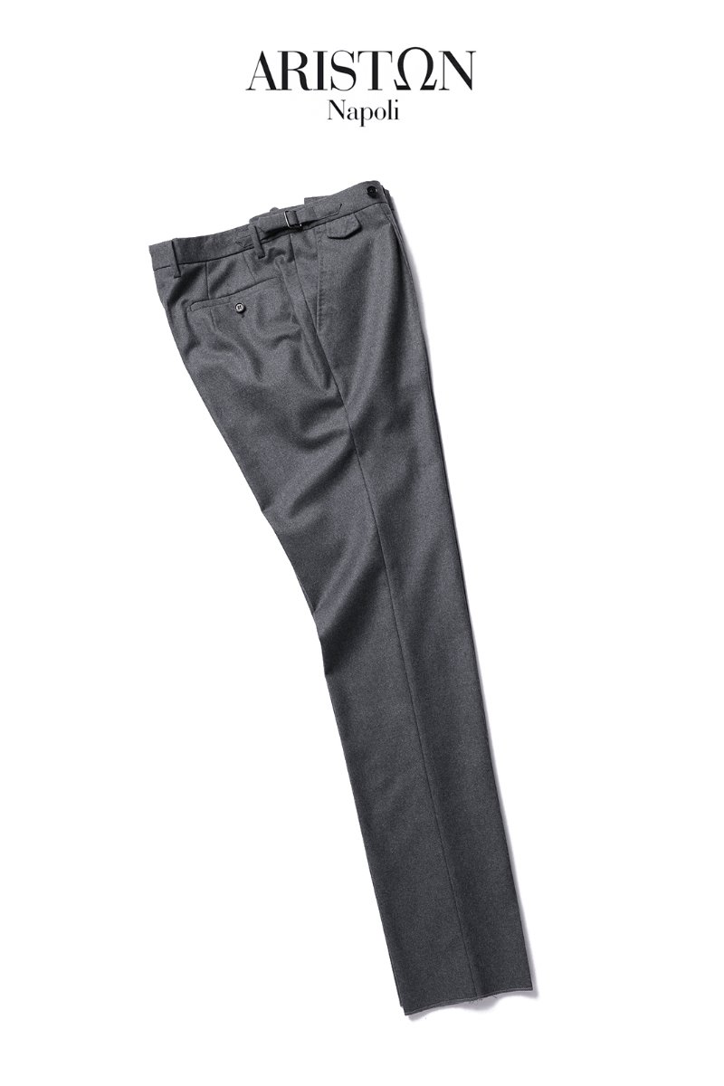 508 ITALY ARISTON NAPOLI WOOL PANTS-KHAKI GRAY