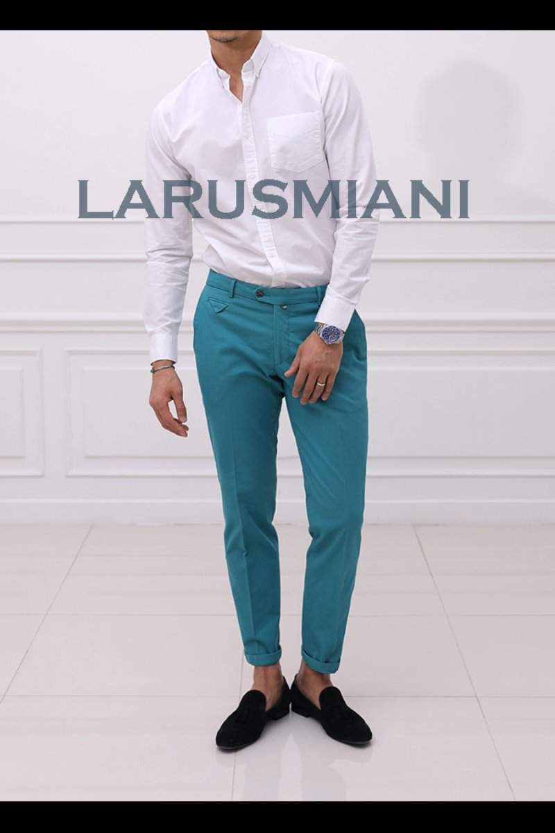Take418 Larusmiani milano-italy garment dye pants/washed mint