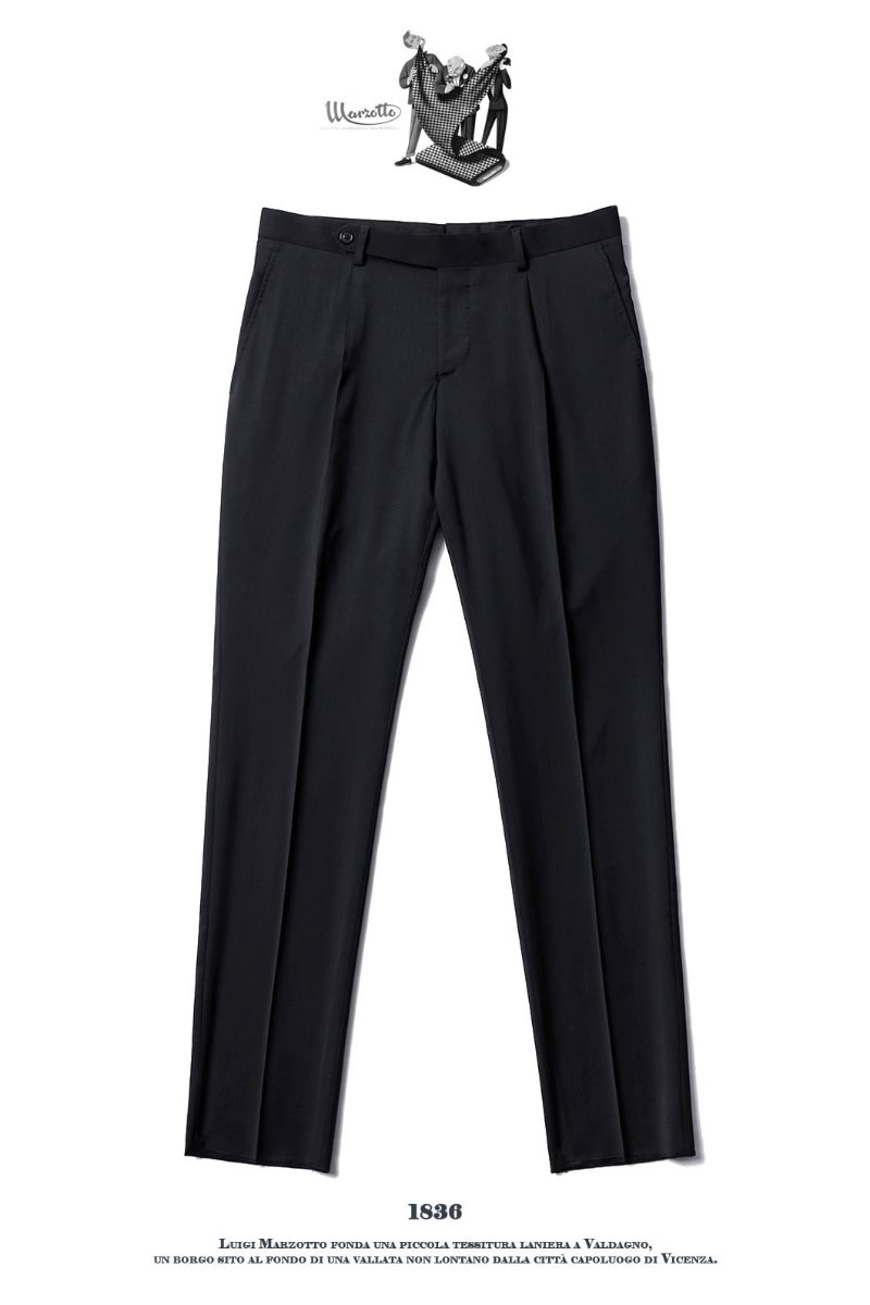 492 ITALY MARZOTTO VOLUME SLACKS PANTS-BLACK