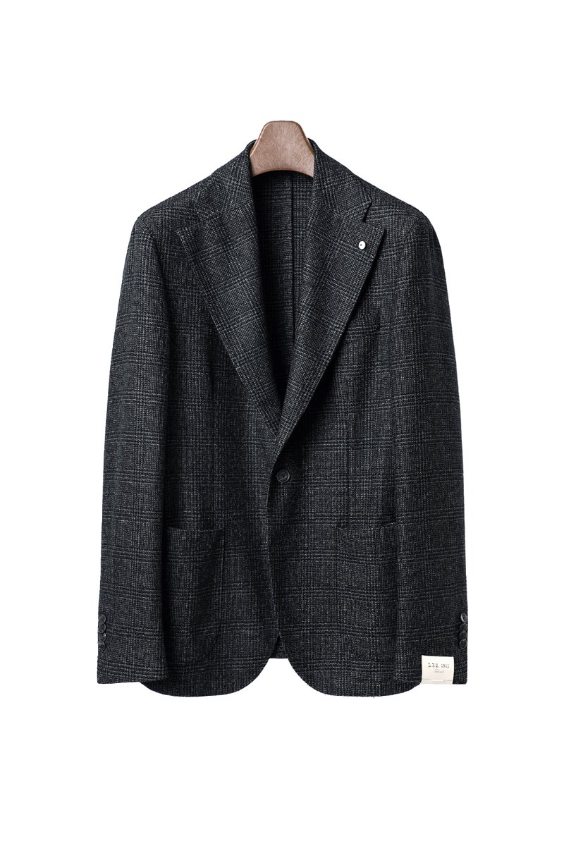 LUBIAM Wide Lapel Clen Check Jacket-Olive Green