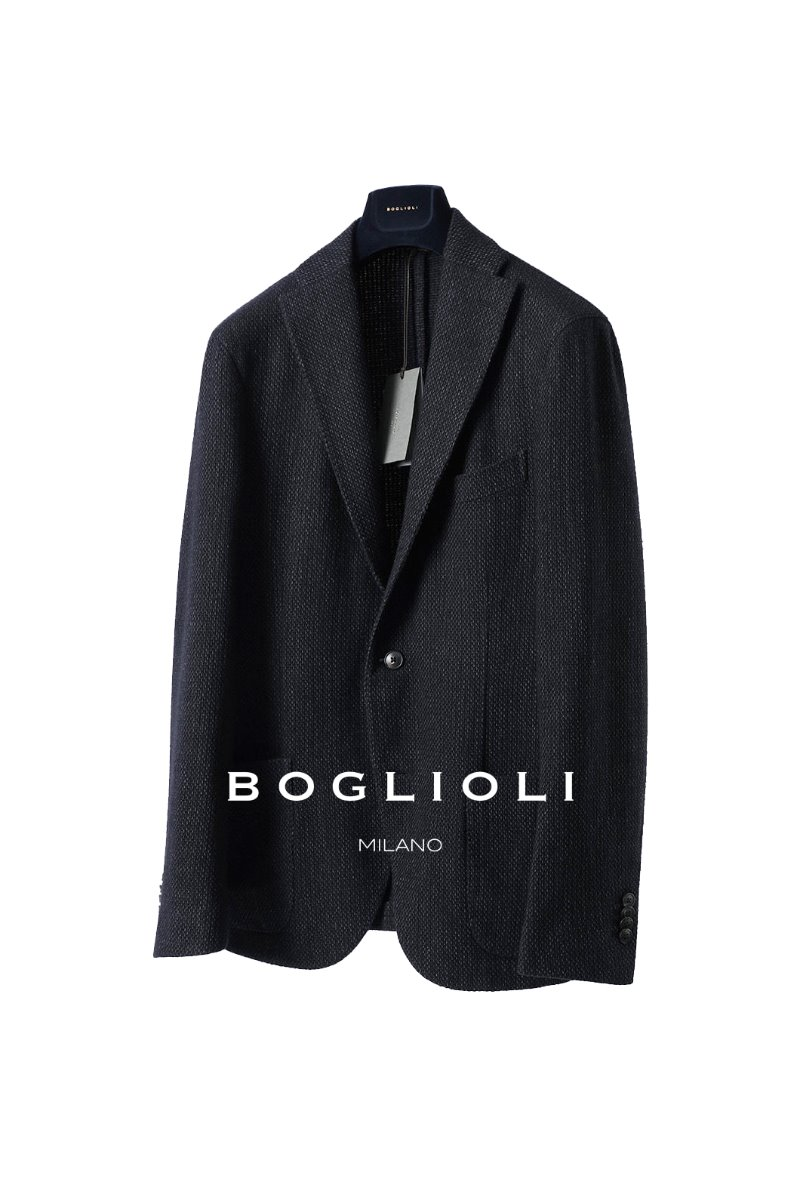 BOGLIOLI WOOL TWEED JACKET-NAVY