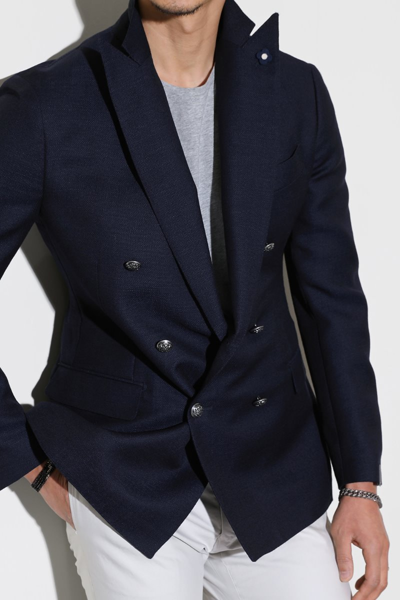 LARDINI SILVER BUTTON DOUBLE JACKET-NAVY