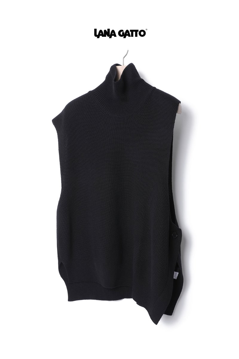 UNBALANCED TURTLE NECK OVER VEST-BLACK[Italy yarn]스페셜오더!