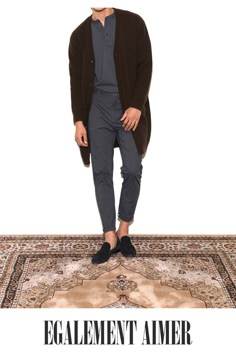 BOTTO Air wool long cardigan - dark brown[Italy yarn]