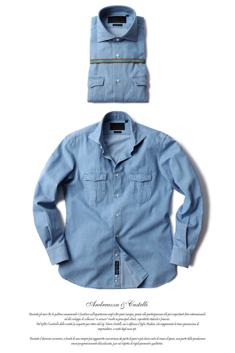 TAKE482 ITALIA A&C WASHED DENIM POCKET SHIRT-SKY BLUE배우 이상윤협찬