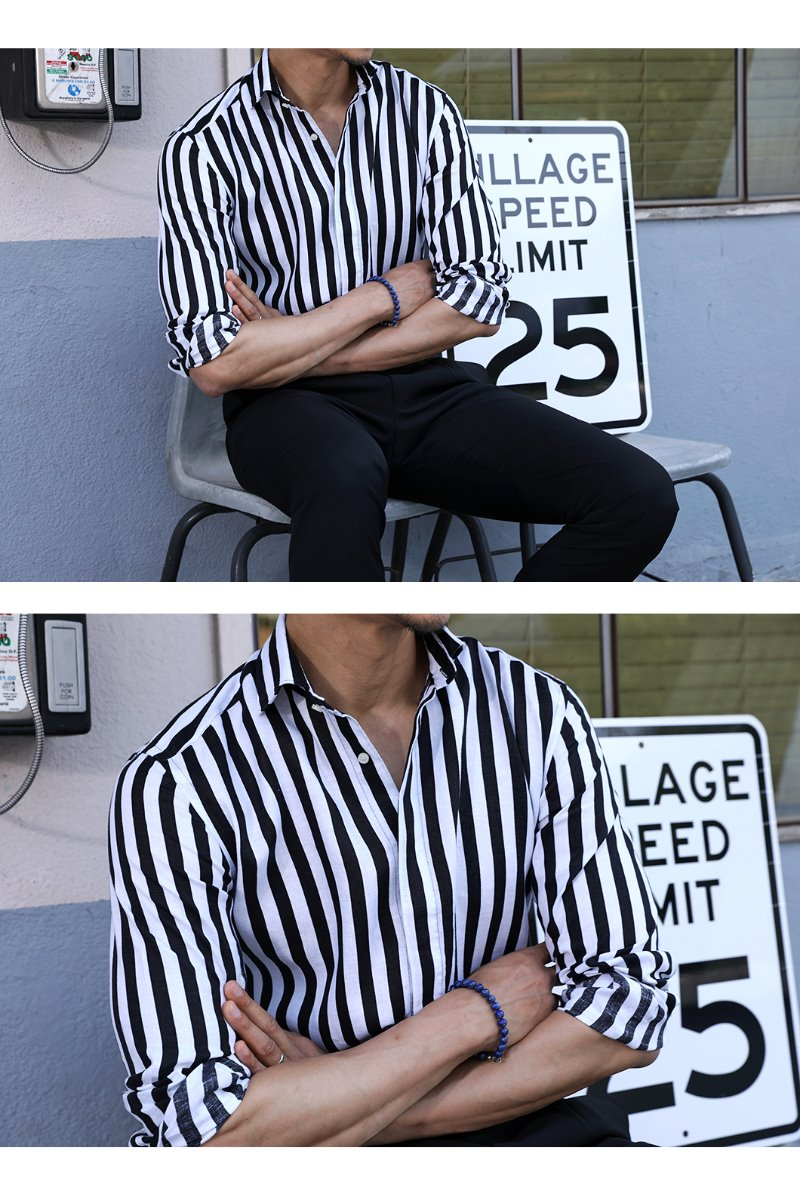 494 FRENCH LINEN STRIPE SHIRT/BLACK&WHITE