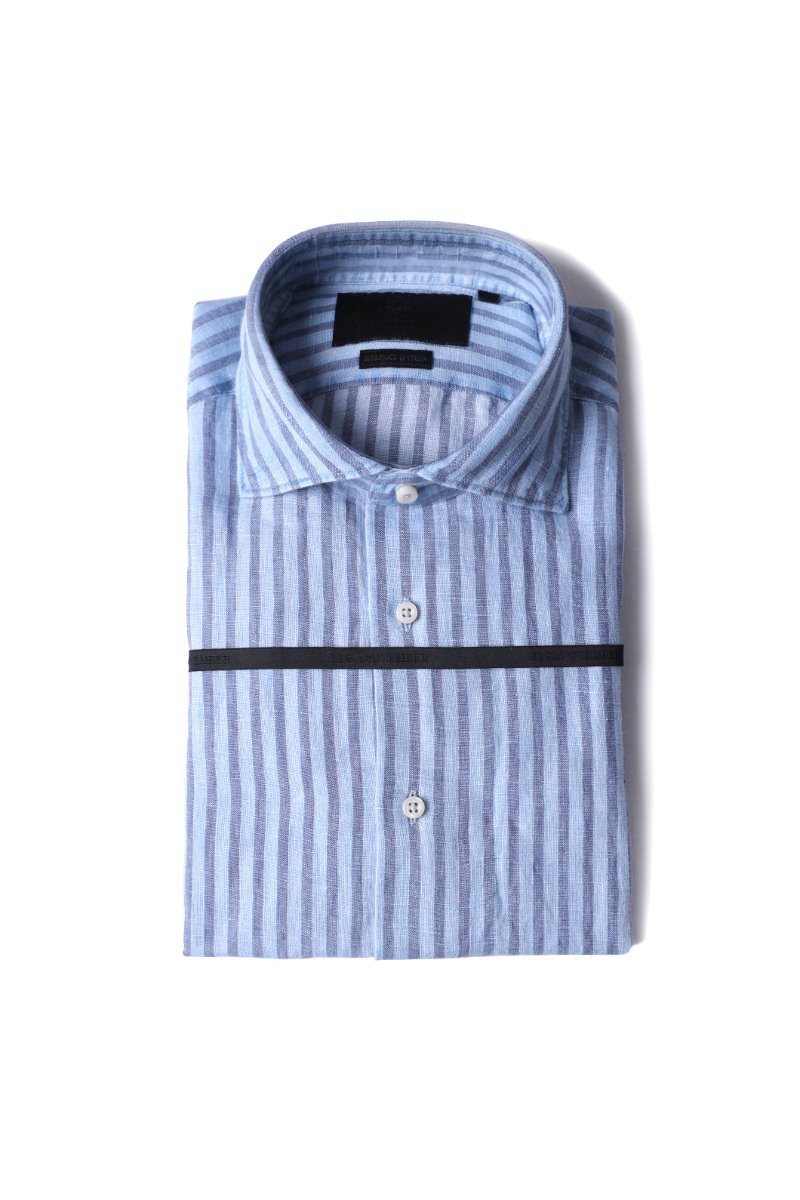 443 French linen stripe shirt/emerald blue