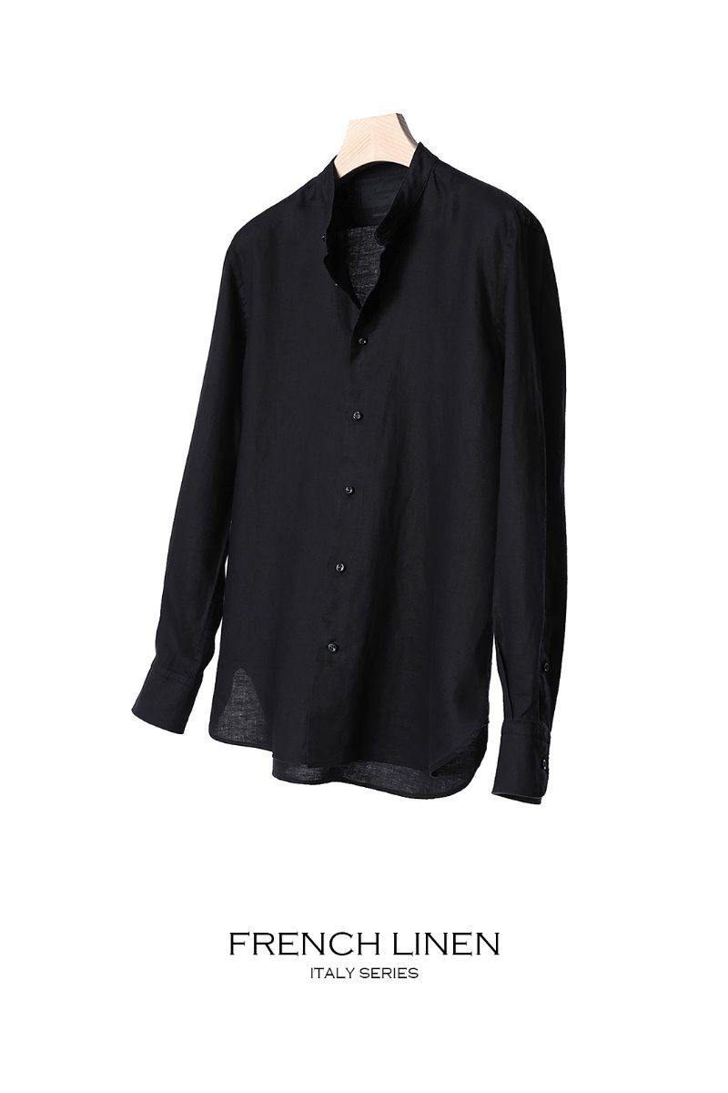 497 FRENCH LINEN CHINA COLLAR SHIRT-BLACK