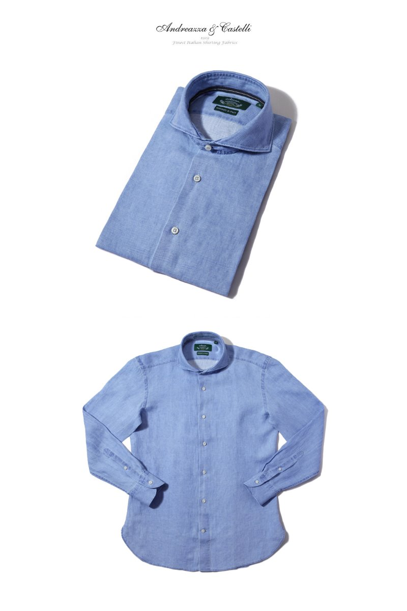 Take351 italia linen shirt/sky blue
